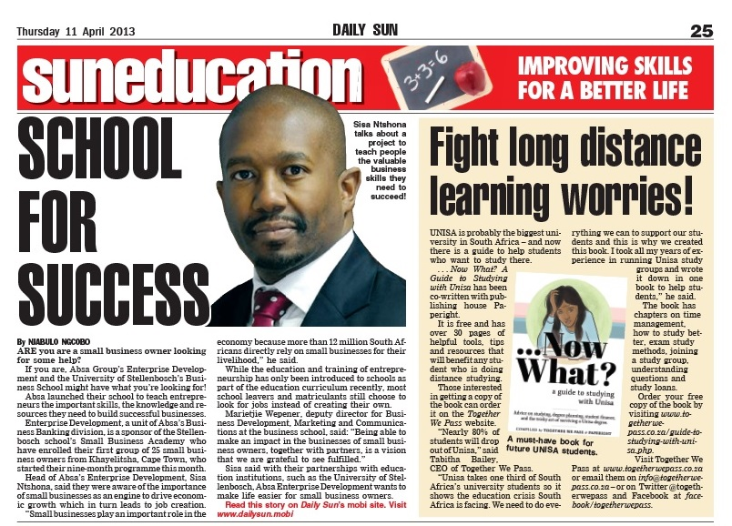 Together We Pass and Paperight in the Press & Media - The Daily Sun covers the launch of Now What? A Guide to Studying with Unisa. The article text is below