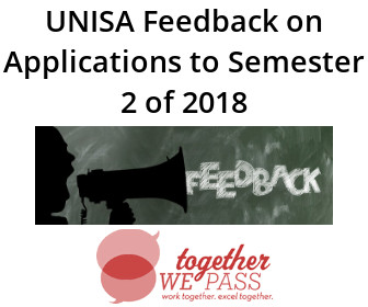 UNISA Feedback on Applications