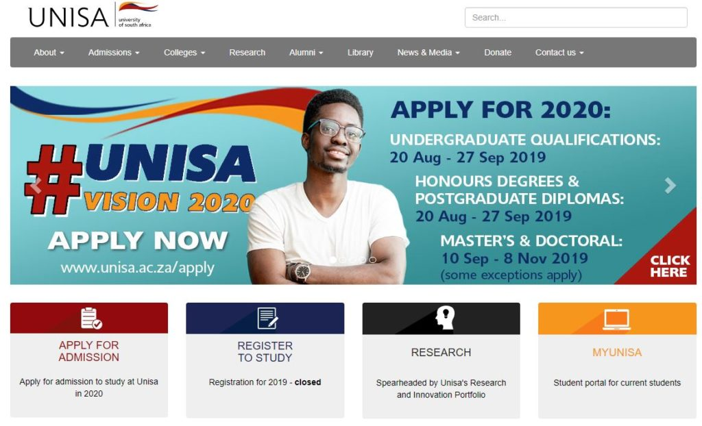 Unisa Home Page